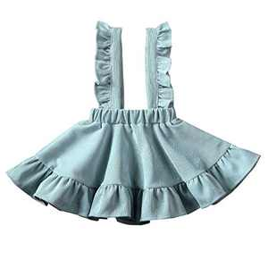 Specialcal Baby Girls Velvet Suspender Skirt Infant Toddler Ruffled Casual Strap Sundress Summer Outfit Clothes (4-5T, Style B-Mint Green)