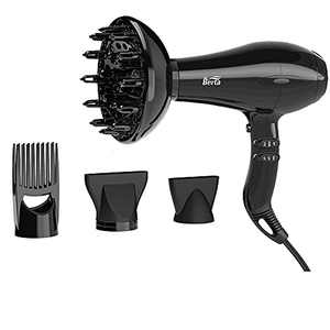 Berta Hair Dryer ,Professional Salon Negative Ionic Blow Dryer 1875W Fast Drying with Diffuser and Comb Mid-Size Black Color