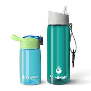 Survimate Filtered Water Bottle, BPA Free Water Bottle with 4-Stage Intergrated Filter Straw for Camping, Hiking, Backpacking and Travel (Green)