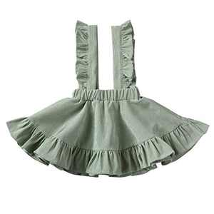 Specialcal Baby Girls Velvet Suspender Skirt Infant Toddler Ruffled Casual Strap Sundress Summer Outfit Clothes (3-4T, Style B- Bean Green)