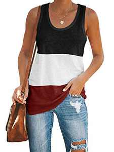 Imily Bela Womens Workout Color Block Tank Tops Racerback Yoga Basic Summer Casual Tee Shirt