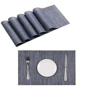 "Zupro Placemats Washable PVC Kitchen Place Mat Set of 6 for Dining Table Stain Resistant Easy to Clean Anti Slip Heat Resistance Woven Vinyl (Dark Blue Gold,18""X12"")"