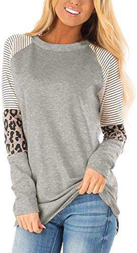 Charolin Women's Leopard Striped Color Block Tunic Top Casual Patchwork Long Sleeve T-Shirt Gray S