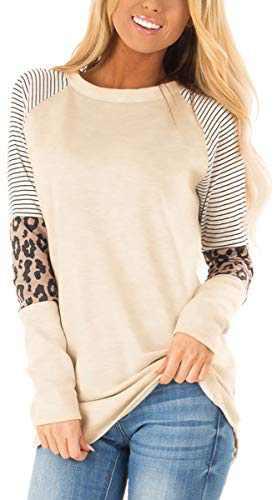 Charolin Women's Leopard Striped Color Block Tunic Top Casual Patchwork Long Sleeve T-Shirt Beige M