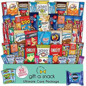 Snack Box Variety Pack (50 Count) Fathers Day Gift Basket Prime - Graduation 2021 College Student Care Package, Crave Food Arrangement Candy Chips Cookies - Birthday Treat for Dad Women Men Adult Kid