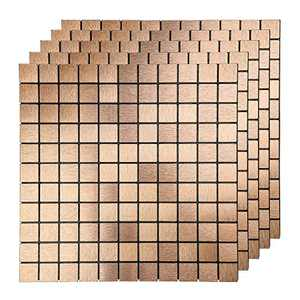 LEISIME Peel and Stick Tile Backsplash, Kitchen Backsplash Peel and Stick Mosaic Tile, Brushed Aluminum for Bathroom & Fireplace Decorations(Bronze -5 PC)