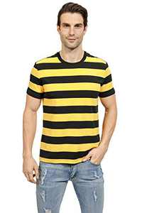 VICALLED Mens Basic Striped T-Shirt Short Sleeve Casual Pullover Crew Neck Cotton Novelty T-Shirt