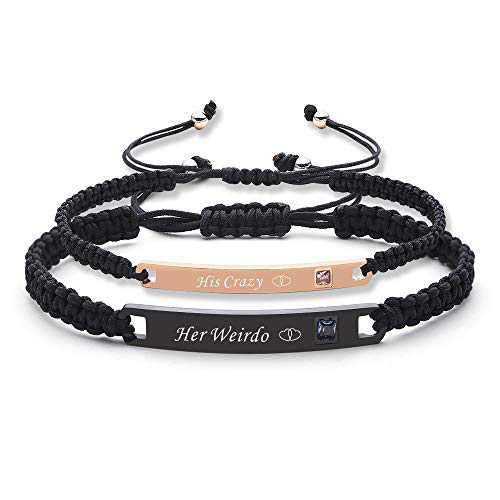IEFSHINY Couples Bracelets His and Hers Bracelets, His Crazy Her Weirdo Relationship Bracelets Matching Bracelets for Couples Boyfriend and Girlfriend Bracelets Anniversary Promise Gifts 2pcs