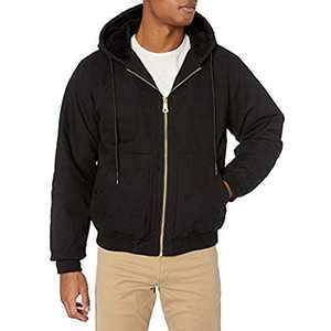 ZENTHACE Men's Sherpa Lined Duck Canvas Work Jacket with Hood Black XL