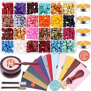 Sealing Wax, Anezus 645pcs Wax Letter Seal Kit with Wax Seal Beads, Sealing Wax Warmer, Vintage Envelopes, Wax Stamp and Metallic Pen for Wax Seal, Letters, Crafts and Decoration