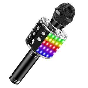 Bluetooth Karaoke Microphone with LED Lights, Portable Karaoke with Speaker for Kids Adults, Handheld Karaoke Machine for Home KTV Party Birthday Gifts, Compatible Android&iOS (Black)