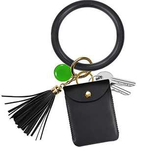 Wristlet Keychain, COCASES Key Ring Bracelet and Credit Card Pocket Leather Tassel Wrist Bangle Key Chains for Women Girl