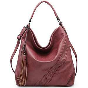 Large Hobo Bags for Women Purses and Handbags Ladies Designer Shoulder Bag Burgundy