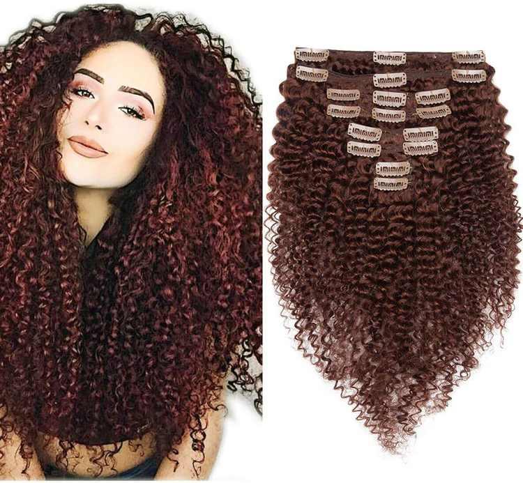 "8"" Afro Kinky Curly Clip in Hair Extension Human Hair Double Weft #33 Dark Auburn (95g)"