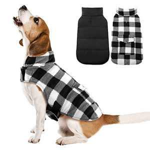 Kuoser British Style Plaid Dog Winter Coat, Windproof Cozy Cold Weather Dog Coat Dog Apparel Dog Jacket Dog Vest for Small Medium and Large Dogs with Pocket & Leash Hook White S