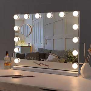 Fenair Makeup Vanity Mirror with Lights, USB Outlet for Mobile Phone Hollywood Mirror, 3 Color Modes Cosmetic Mirror with Smart Touch Control, Tabletop or Wallmount