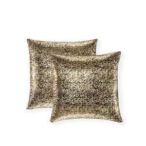 Xinrjojo Pack of 2, Shimmery Pillow, Soft Solid Color Sparkling Decorative Square Throw Pillow Covers Set, Cushion Cases Pillowcases for Sofa Bedroom Car, 20 x 20 Inch 50 x 50 cm (Bronzing- Black)