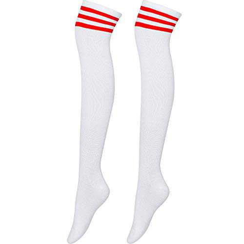 Women Over Knee Thigh Socks Warm Knit High Stockings Striped Cosplay Socks