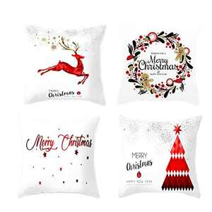 4 Pcs Christmas Pillow Covers, 18 X 18 Inch Pillow Case Square Cushion Covers, Decorative Throw Pillow Covers for Home, Car, Sofa, Couch, Bed (Pattern A)