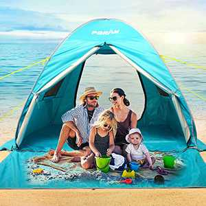 Poayhut UV50+ Deluxe Size Instant Setup Beach Tent,Family 3-4 Person Privacy shelter with 2 Doors,Fishing Camping Portable Light Weight Windproof Cabana (Blue, DeluxeXXL-Large)