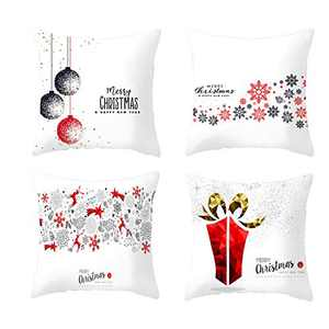 4 Pcs Christmas Pillow Covers, 18 X 18 Inch Pillow Case Square Cushion Covers, Decorative Throw Pillow Covers for Home, Car, Sofa, Couch, Bed (Pattern C)