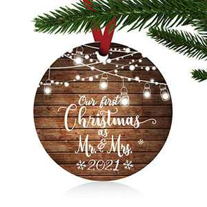 """ZUNON Our First Christmas as Mr & Mrs Ornaments 2021 Christmas Married Wedding Decoration 3"""" Ornament (Brown Mr and Mrs)"""