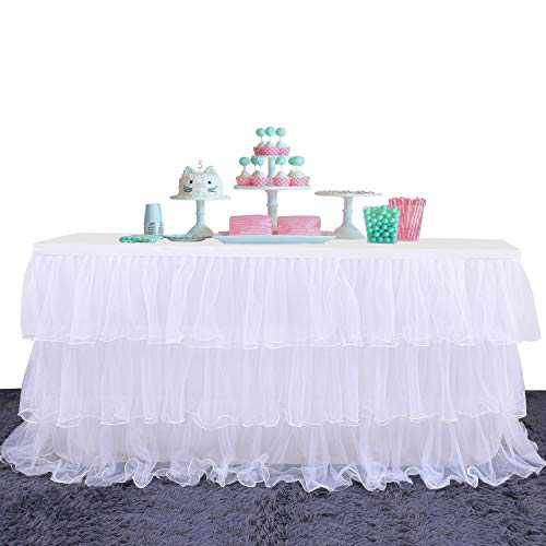 Yetomey Table Skirt for Rectangle or Round Tables Skirting Decoration Tutu Table Skirt for Birthday, Wedding Party, Home Decoration & Baby Shower (White, L 108in×H 30in)