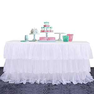 Yetomey Table Skirt for Rectangle or Round Tables Skirting DecorationTutu Table Skirt for Birthday, Wedding Party, Home Decoration & Baby Shower (White, L 72in×H 30in)