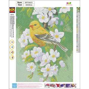 2 in Pack Diamond Painting Birds Kits for Adults Full Drill Embroidery Paintings Rhinestone Pasted DIY Painting Cross Stitch Arts Crafts for Home Wall Decor 40x50cm/16×20Inches (Bird&Flower)