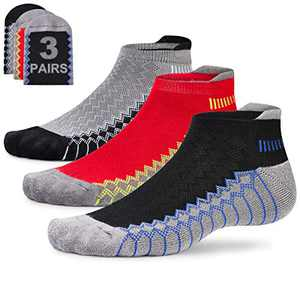 Mens Tab Cushioned Running Socks Low Cut Performance Padded Jogging Socks Short Arch Support Athletic Socks Ankle Non Slip Moisture Wicking