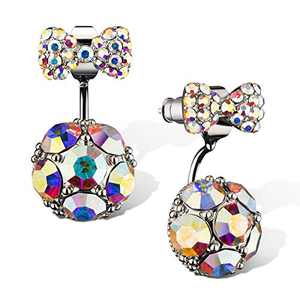 Sterling Silver POST Cluster Cubic Zirconia Stud Earrings for women (White)