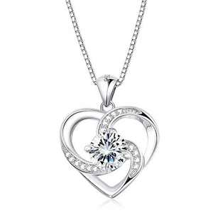 Sllaiss 925 Sterling Silver Heart Pendant Necklaces with Austria Zirconia Love Heart Necklace for Women Valentine's Day Gift with Box