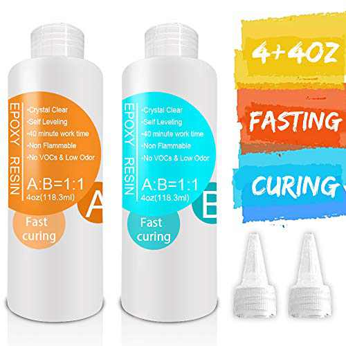Epoxy-Resin-Kit for Jewelry, Art, Craft 8oz,Fast Curing, 2 Part Crystal Clear Casting Resinwith Bonus 1 Pair Dropper