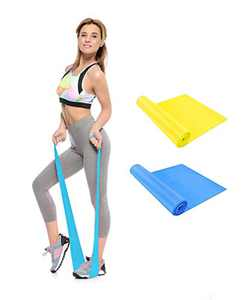 Resistance Band and yoga bands, Professional Latex Elastic Bands for Upper & Lower Body & Core Exercise, Physical Therapy, Lower Pilates, At-Home Workouts,Practice yoga and Rehab (2pc,Yellow&Blue)