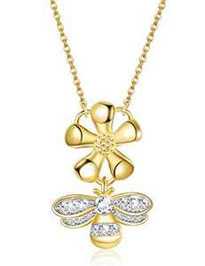 Sllaiss 925 Sterling Silver Bee Necklace 18K Gold Plated Crystals from Austria Daisy Pendant Necklace Valentine's Day Jewelry Gift for Women