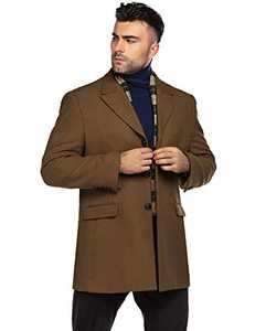 COOFANDY Men's Short Winter Coat Regular Fit Single Breasted Overcoat with Romveable Plaid Scarf (Coffe XXL)