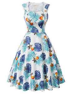 Retro Dresses Floral Tea Length Dresses 1950s Wedding Guest Dress FR-2 M
