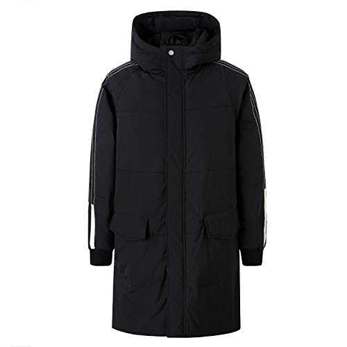 ZENTHACE Men's Long Down Coat Winter Warm Down Puffer Jacket with Hood(Big and Tall) Black L