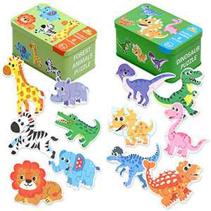 Jigsaw Puzzles for Toddlers 2 3 4Years Old with Storage Box, Beginner Puzzles for Preschool Kids Best Animal Learning Educational Toy-Dinosaurs, Giraffe, Elephant, Lion, etc, Great Gift for Girl & Boy