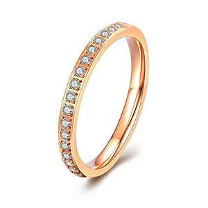 M MOOHAM 2mm Thin Eternity Bands for Women, Cubic Zirconia Stackable Engagement Rings Stack Band Rose Gold Rings CZ Wedding Bands for Women Size 10
