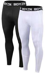 Boyzn Men's 2 Pack Sports Compression Tights Cool Dry Workout Base Layer Active Leggings Pants Black/White-3XL