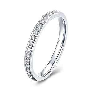 M MOOHAM Eternity Bands for Women, 2mm Stackable Cubic Zirconia Rings Silver Eternity Titanium Rings Wedding Bands for Women Size 7.5, Promise Rings for Her