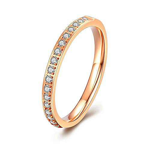 M MOOHAM Eternity Bands for Women, 2mm Stackable Cubic Zirconia Rings Rose Gold Titanium Wedding Bands for Women Size 7, Promise Rings for Her