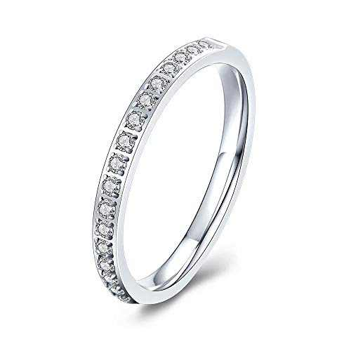 M MOOHAM Eternity Bands for Women, 2mm Stackable Cubic Zirconia Rings Silver Titanium Rings Wedding Bands for Women Size 6.5, Promise Rings for Her