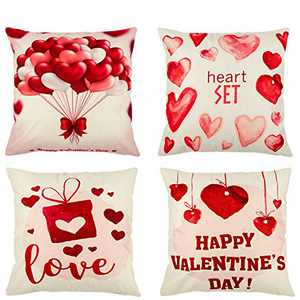 Alphatool Pack of 4 Valentine's Day Throw Pillow Covers- Linen Red Love Heart Pattern Happy Valentine's Day Throw Pillow Case Cushion Cover with Romantic Quote for Couch Sofa Home Décor 18 × 18 inch