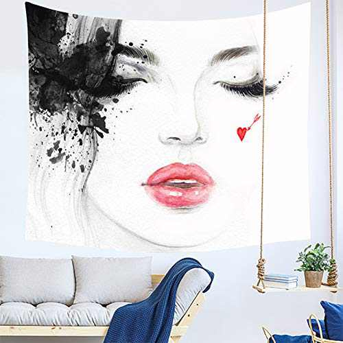 DORCAS Watercolor Print Tapestry Ink Tapestries Beauty Woman Face Abstract Mural Wall Hanging Hippie Tapestries White Illustration Wall tapestry for Home Decor Bedroom Living Room Dorm Room