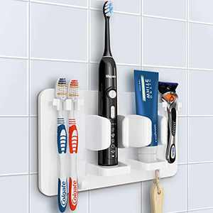 Mspan Toothbrush Razor Holder for Shower: Bathroom Accessories Organizer Wall Mounted Hanging Mount Shelf & Hooks for Loofah | Shaver | Toothpaste | Electric Toothbrush