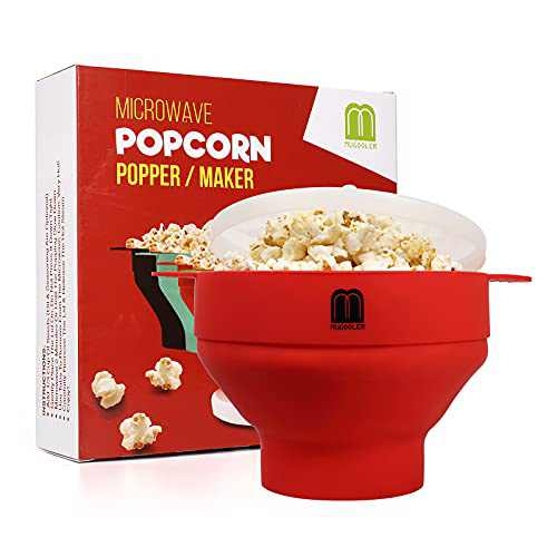 MUGOOLER Microwave Popcorn Popper Silicone Popcorn Maker, Collapsible Bowl with Lid BPA Free (Red)