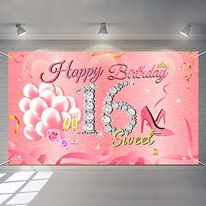 Rose Gold Sweet 16th Birthday Background Large Pink 16th Anniversary Banner Poster for 16th Party Decoration Carnival Theme Party Photo Booth Backdrop for Large Party Decoration for Girl