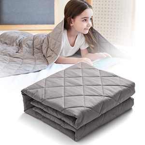 CO-Z 5lbs Weighted Blanket for Kids, Size 36x48 inches 300TC Premium Breathable 100% Cotton Material, Durable Soft Heavy Blanket with Glass Beads, Skin-Friendly, Grey